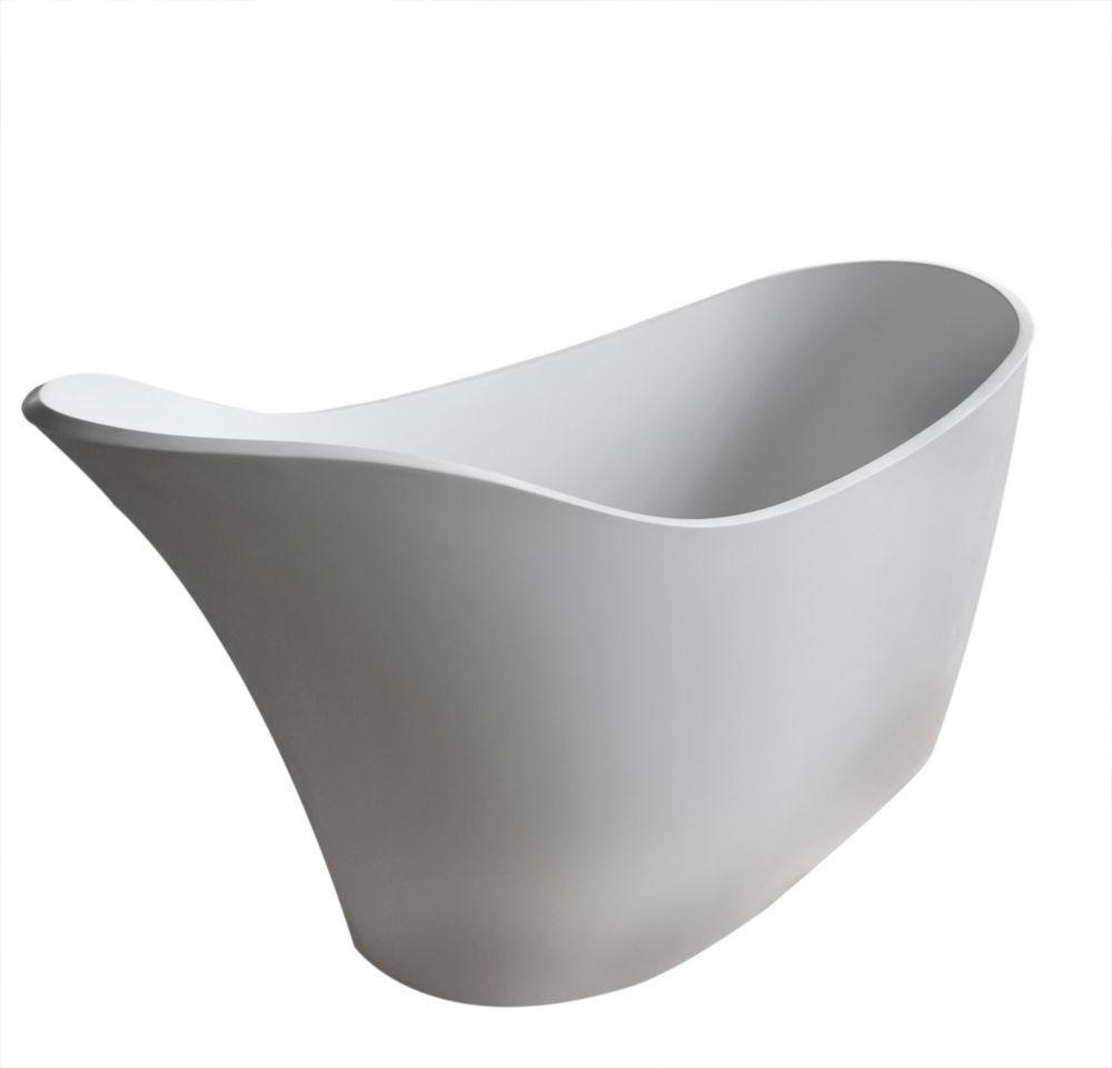 Curve Stone 5 Feet 6-Inch Artificial Stone Freestanding Bathtub in White