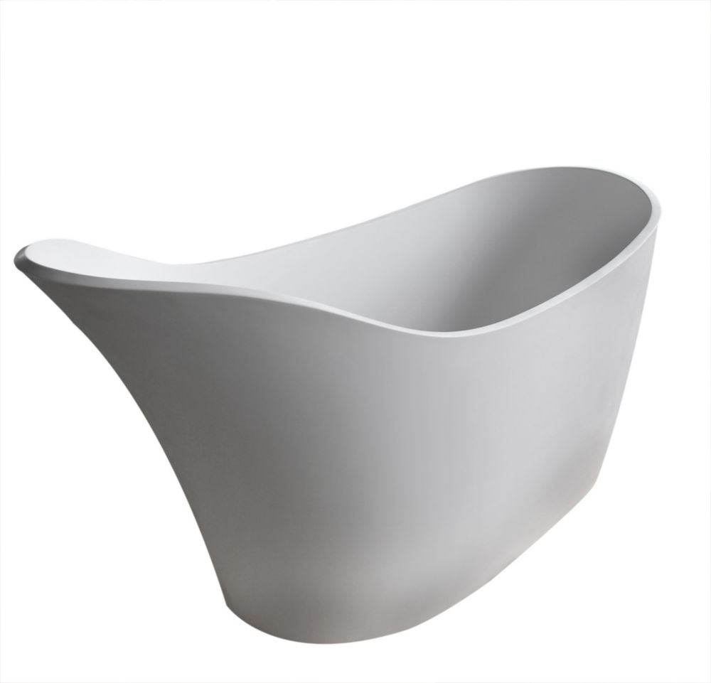 Universal Tubs Curve Stone 5.6 ft. Artificial Stone Centre Drain Oval Bathtub in White