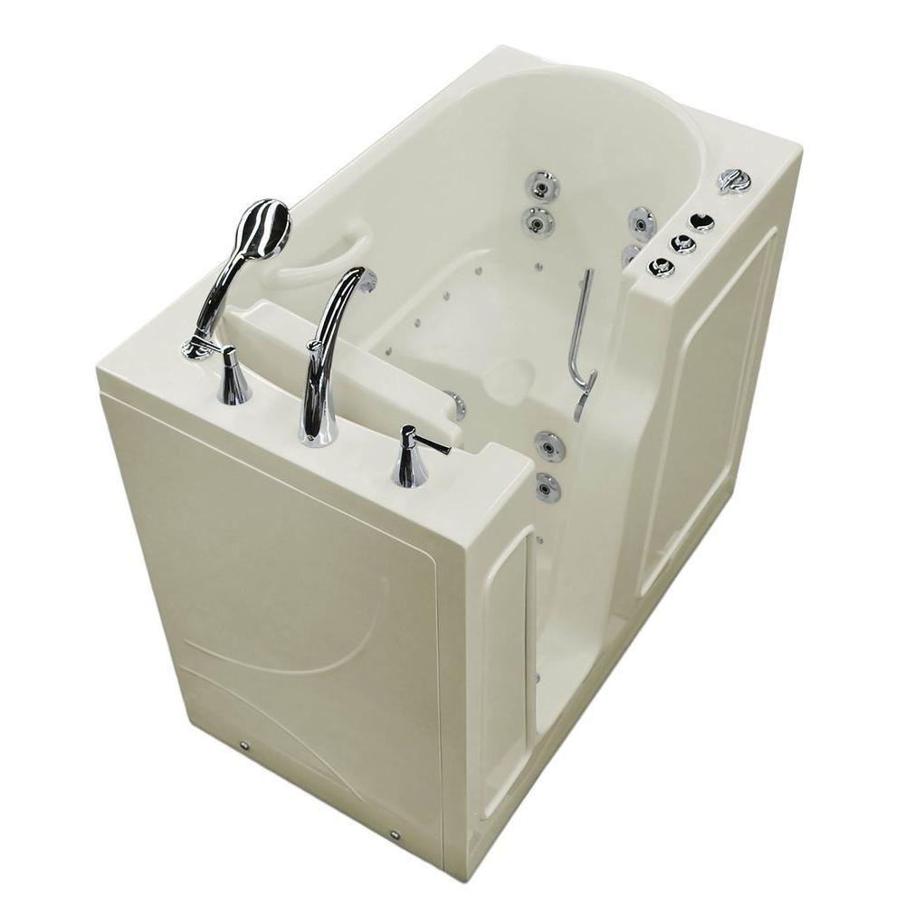 3 ft. 9-inch Left Drain Walk-In Whirlpool and Air Bathtub in Biscuit