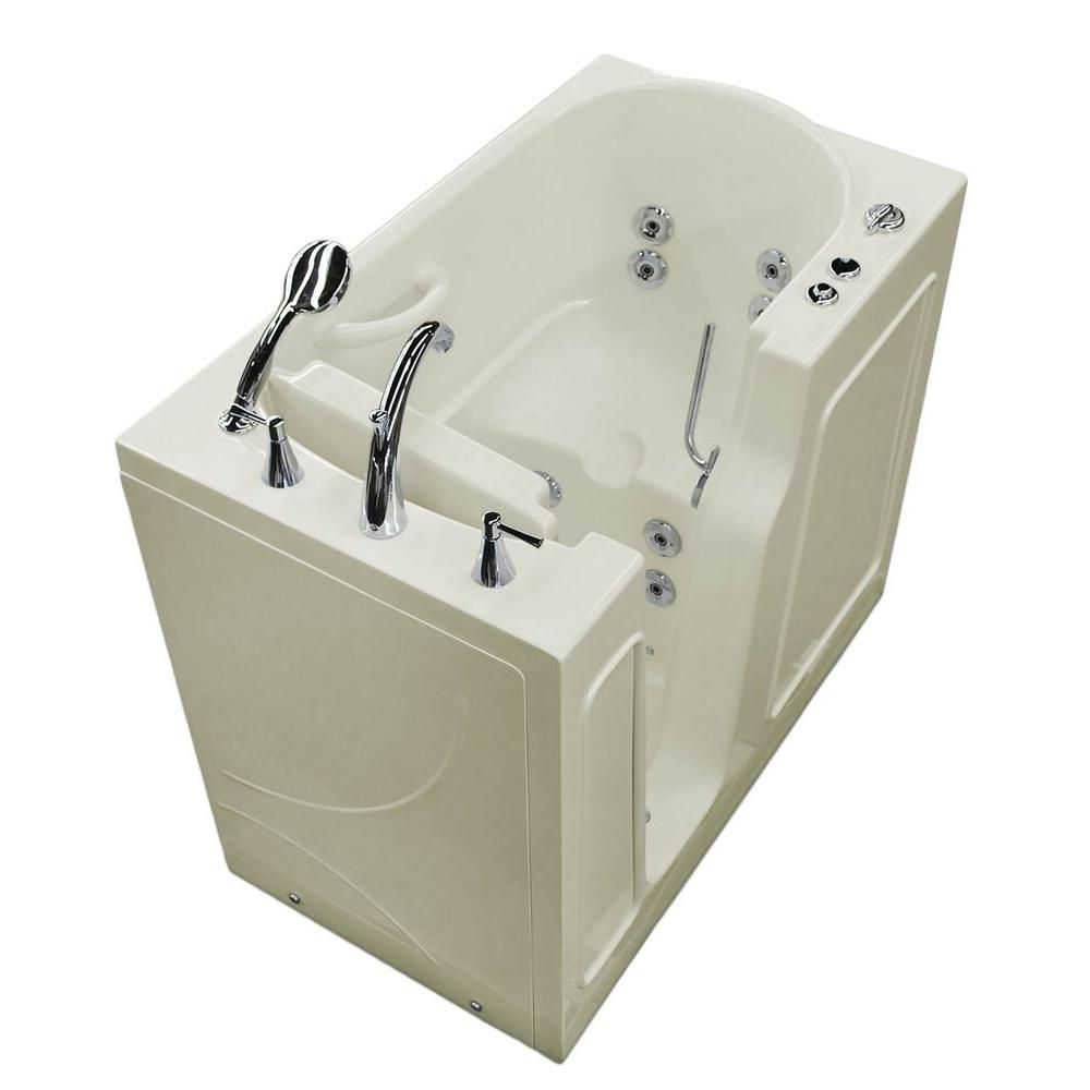 Universal Tubs 3 ft. 9-inch Left Drain Walk-In Whirlpool Bathtub in Biscuit