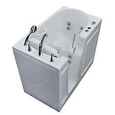 3 ft. 9-inch Left Drain Walk-In Whirlpool Bathtub in White with ADA Compliant Moulded Bathing Seat