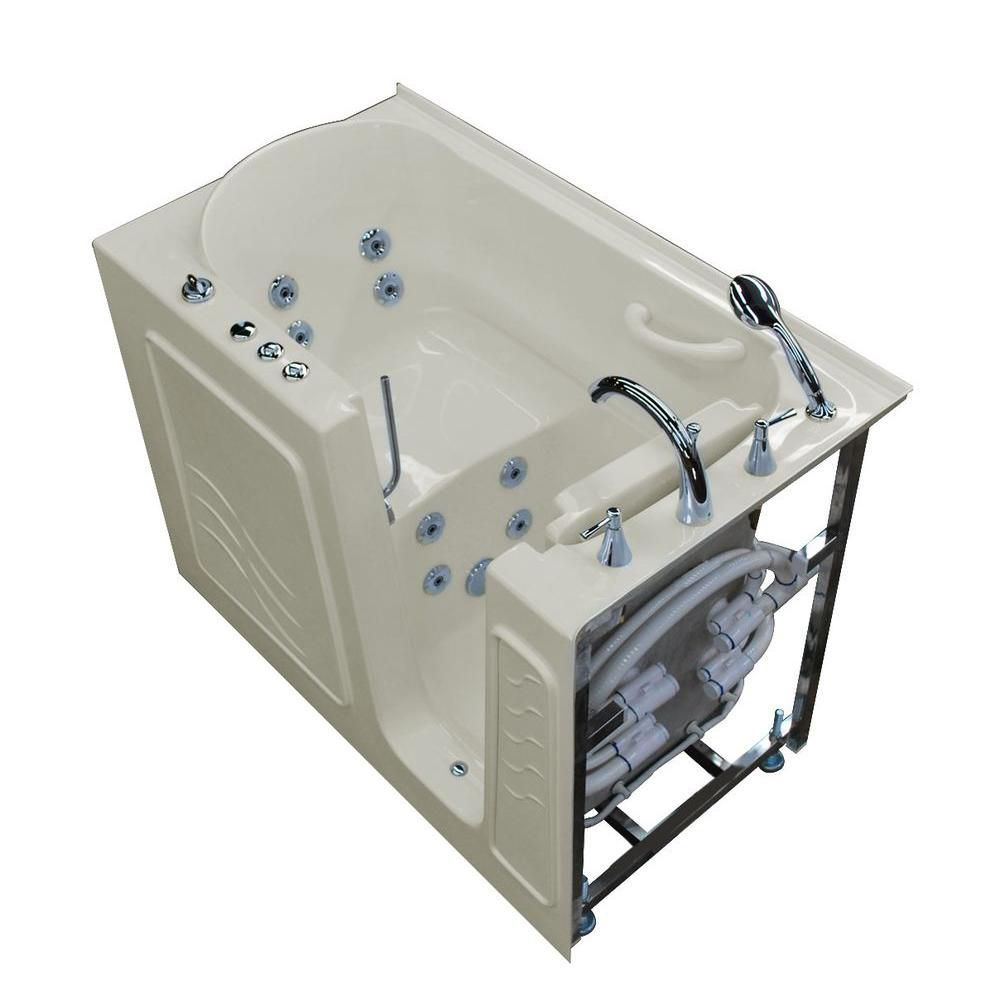 4 ft. 5-inch Right Drain Walk-In Whirlpool Bathtub in Biscuit