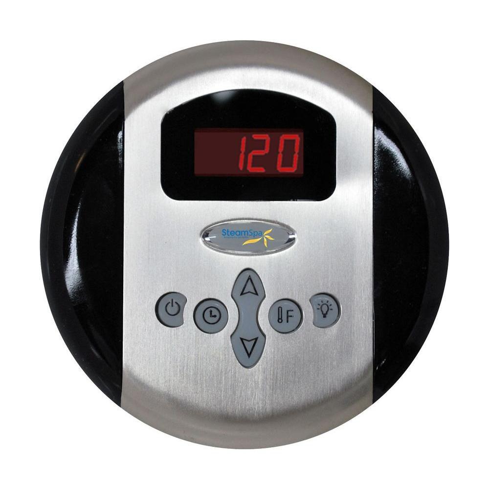 Panneau de commande programmable avec heure et température et fini chromé