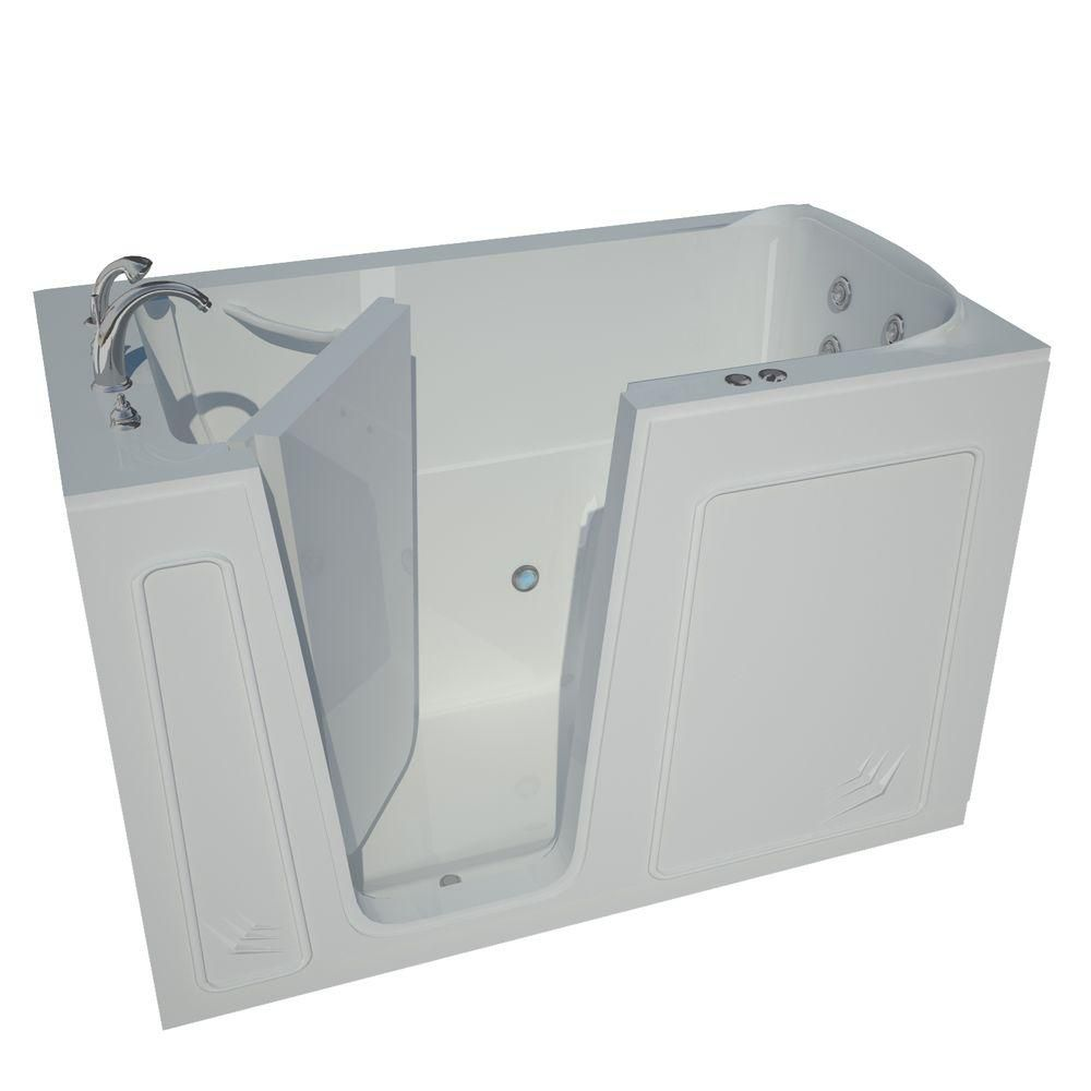 Universal Tubs 5 ft. Left Drain Walk-In Whirlpool Bathtub in White
