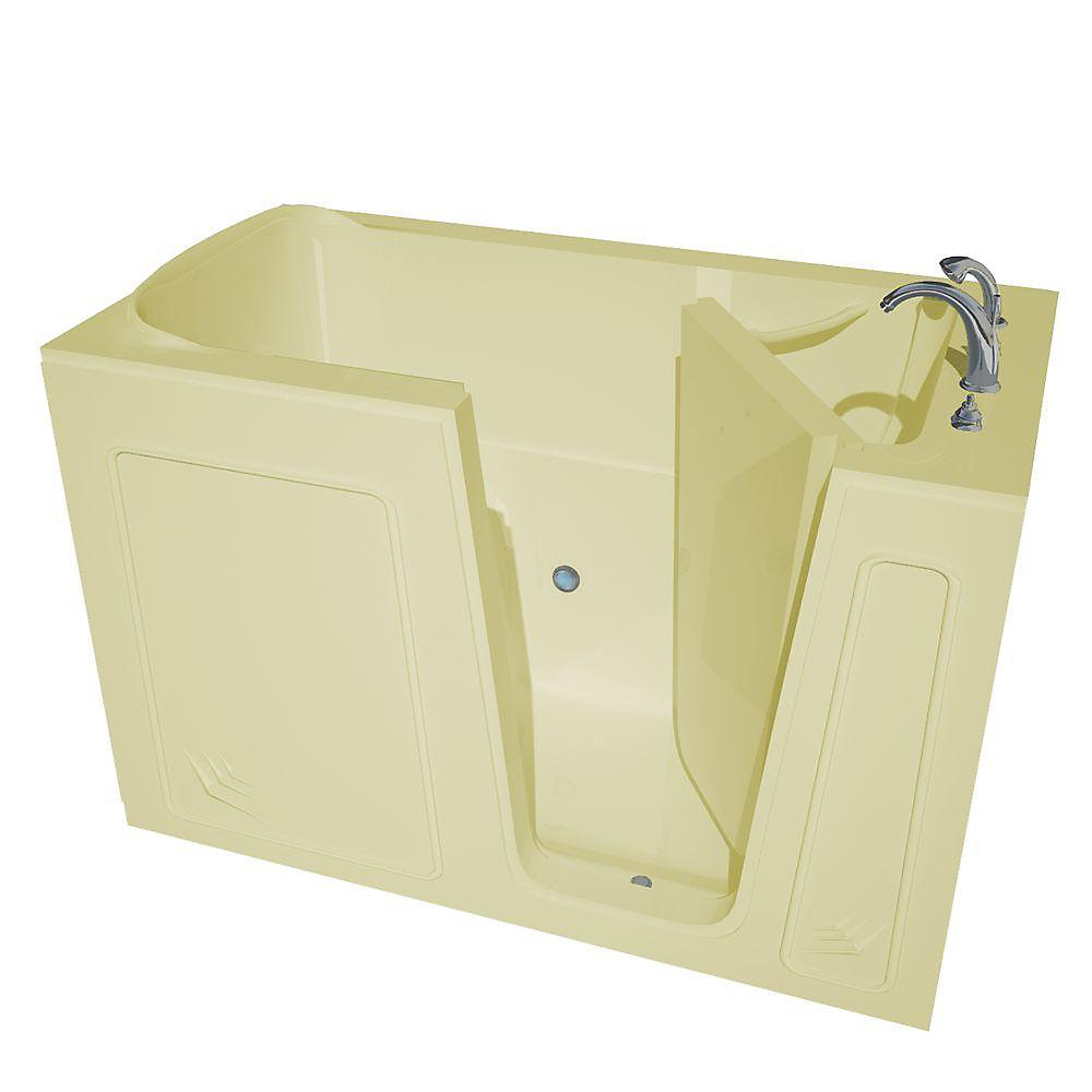 5 ft. Acrylic Alcove Right Drain Walk-In Non Whirlpool Bathtub Inward Swing Molded Seat in Biscuit