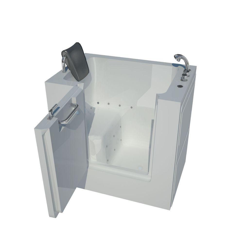 3 Feet 4-Inch Walk-In Whirlpool Bathtub in White