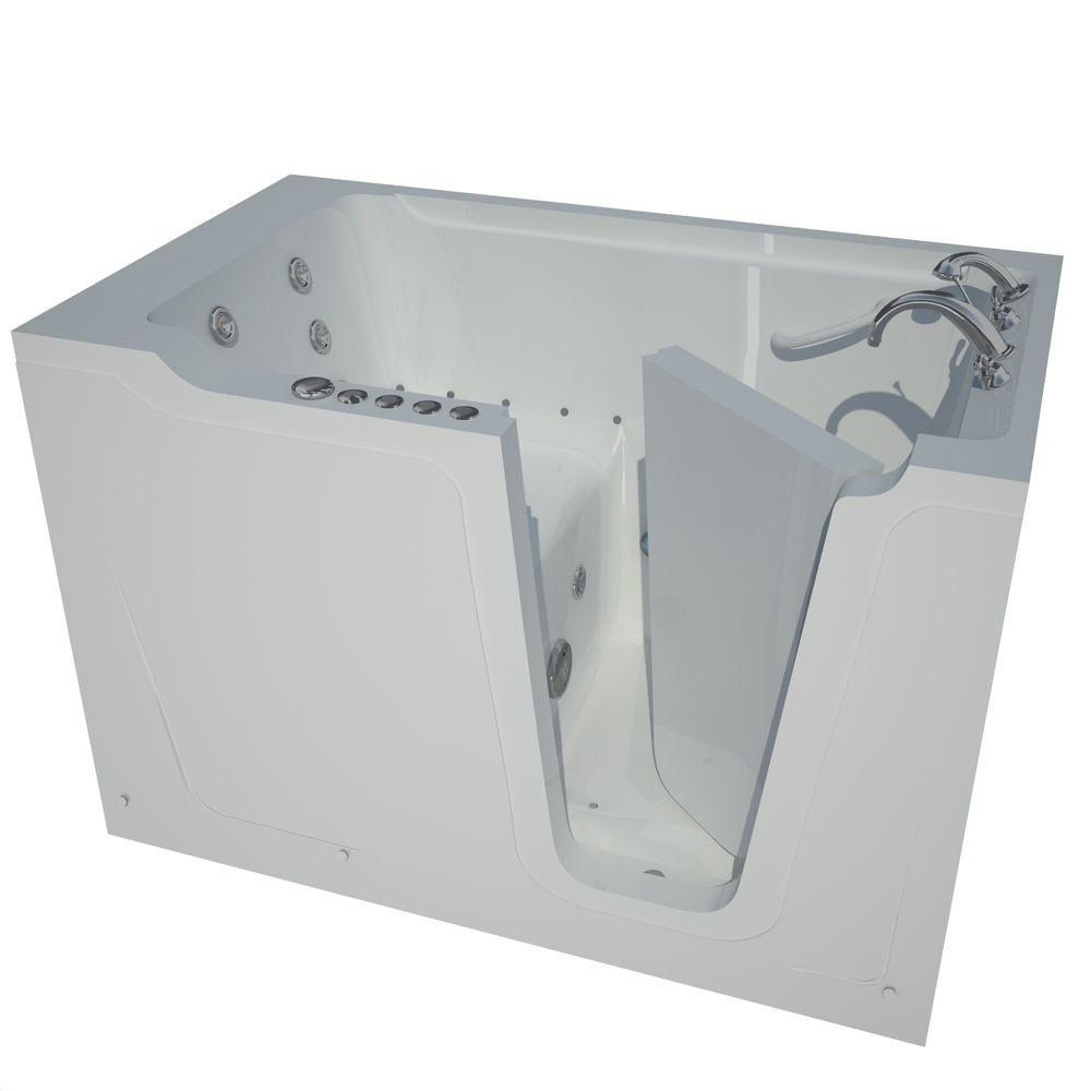 Universal Tubs 5 ft. Right Drain Walk-In Whirlpool and Air Bathtub in White