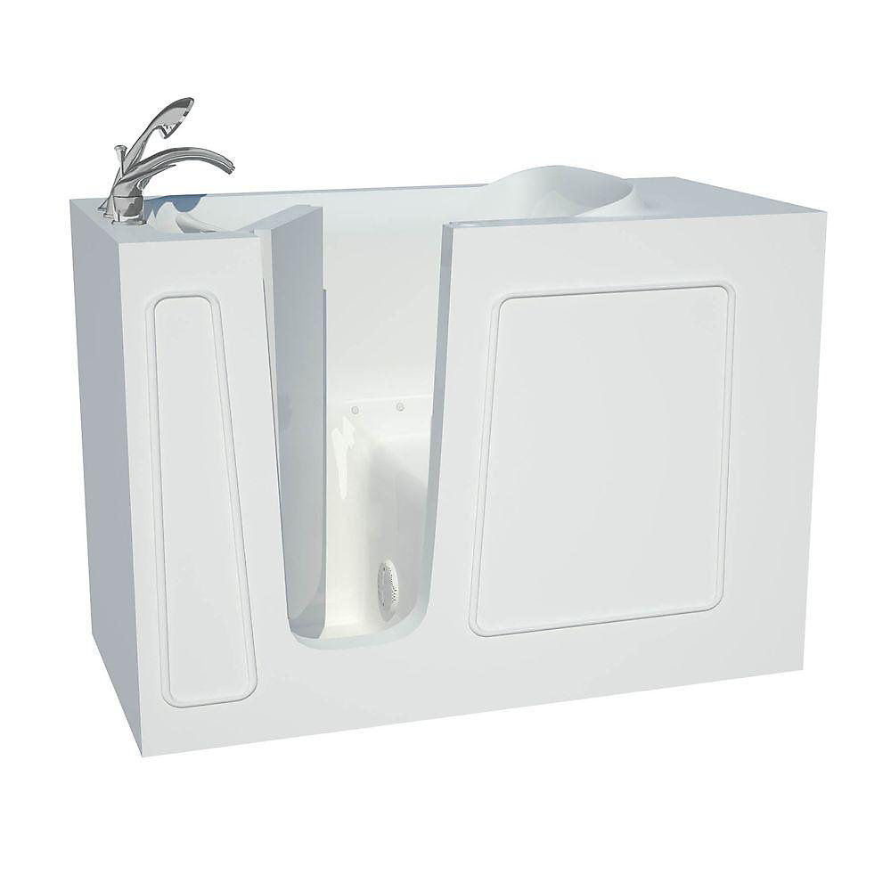 4 ft  5-inch Fiberglass Alcove Rectangular Left Drain Walk-In Inward Swing  Bathtub in White
