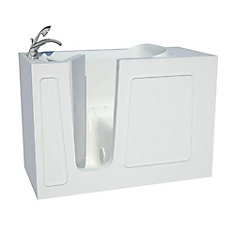 4 ft. 5-inch Fiberglass Alcove Rectangular Left Drain Walk-In Inward Swing Bathtub in White