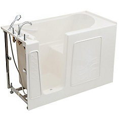 4.5 ft. Left Drain Soaking Walk-In Bathtub in White