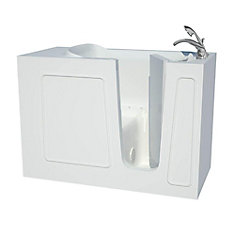 4 ft. 5-inch Fiberglass Alcove Rectangular Right Drain Walk-In Bathtub with Handheld Shower in White