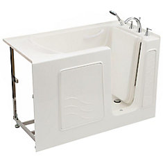 4.5 ft. Right Drain Soaking Walk-In Bathtub in White