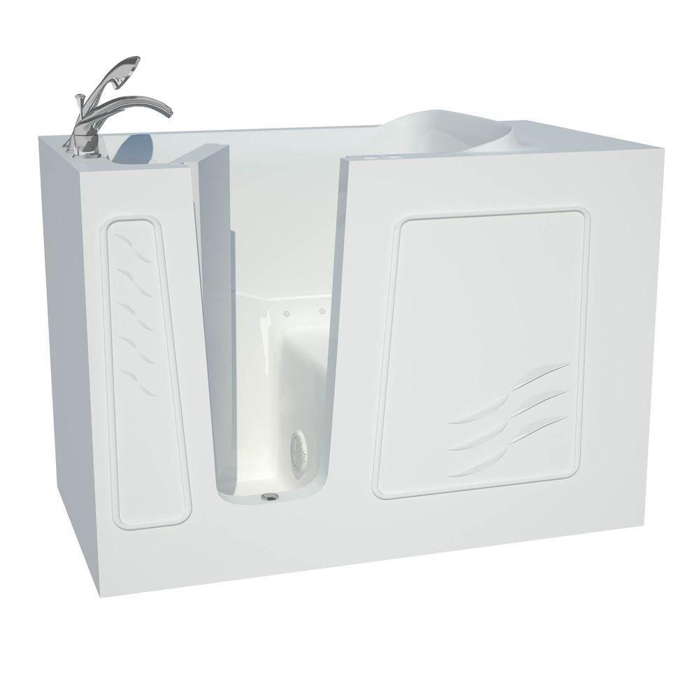 Universal Tubs 4 ft. 5-inch Fiberglass Alcove Rectangular Left Drain Whirlpool Walk-In Inward Swing Bathtub in White