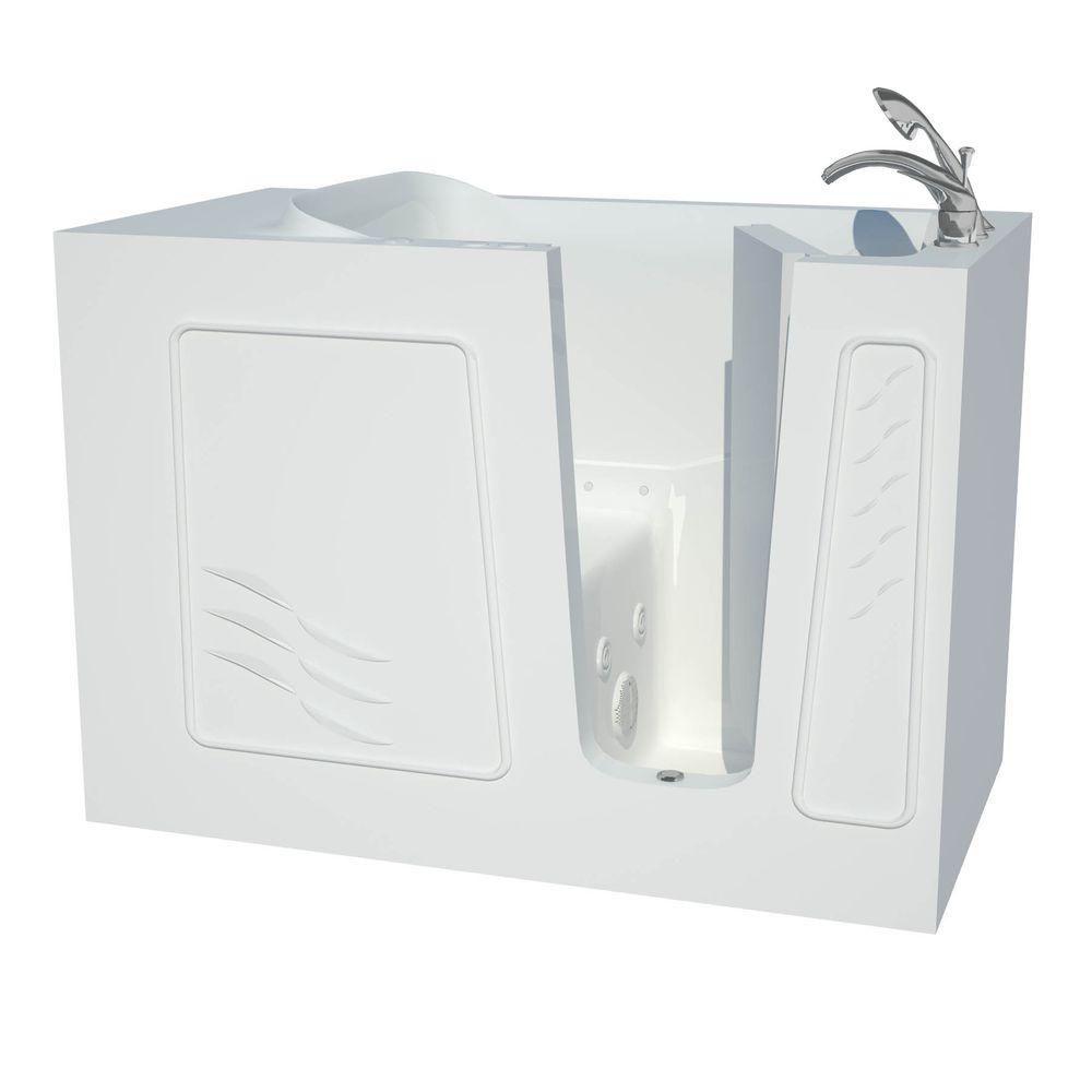 4 ft. 5-inch Fiberglass Alcove Rectangular Right Drain Whirlpool Walk-In Bathtub Molded Seat in White