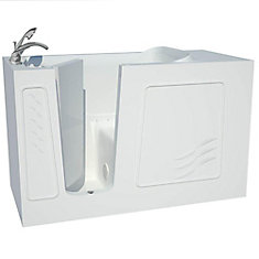 5 ft. Fiberglass Alcove Rectangular Left Drain Whirlpool Walk-In Bathtub Molded Seat in White