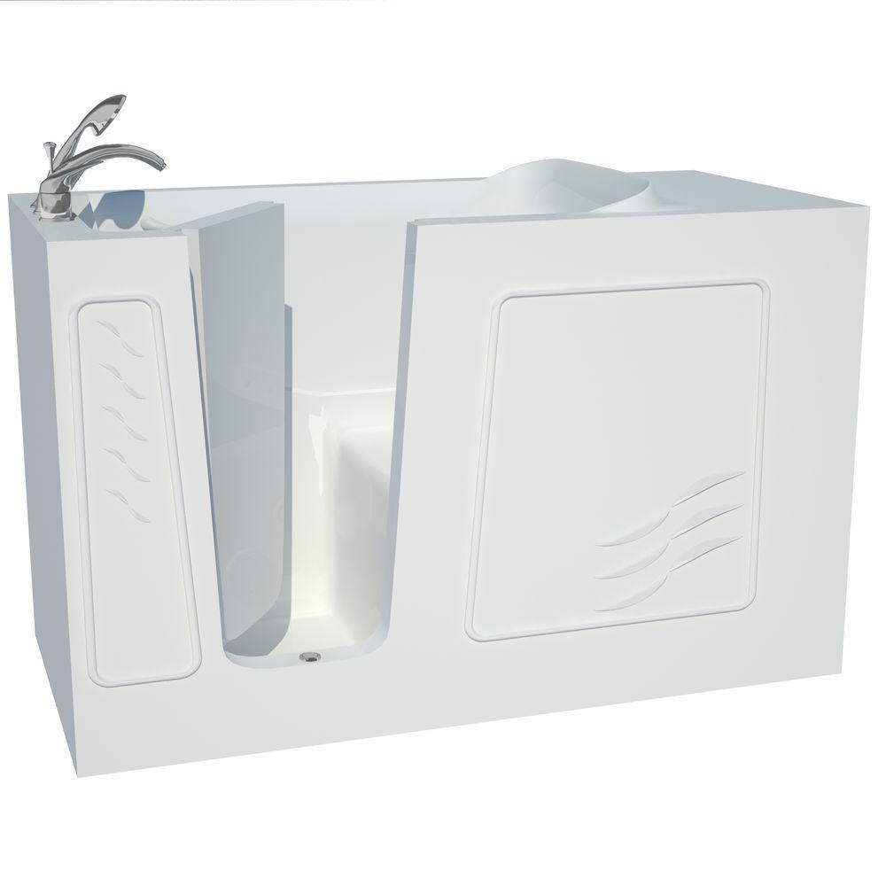 Fiberglass Alcove Rectangular Left Drain Walk In Bathtub Handheld  Showerhead In White
