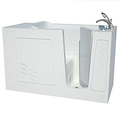5 ft. Fiberglass Alcove Rectangular Right Drain Whirpool Walk-In Bathtub Air Massage in White