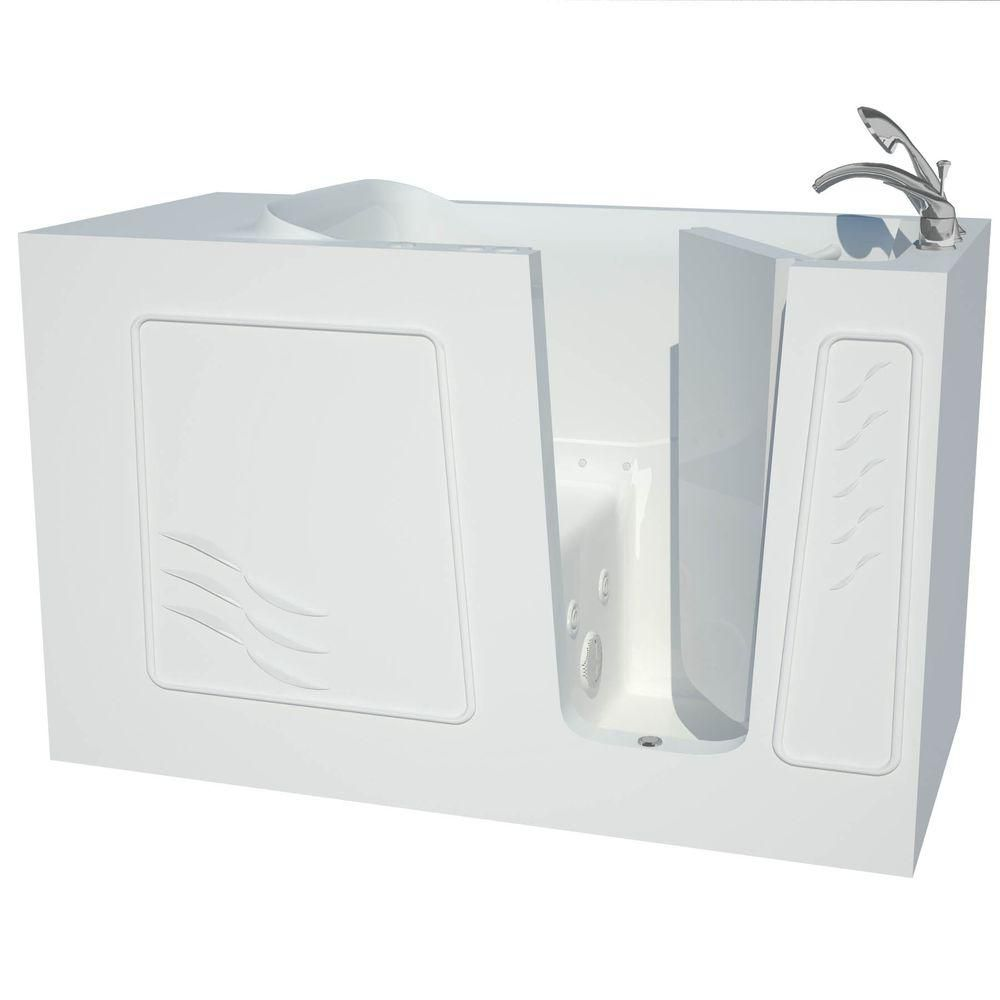 Universal Tubs 5 ft. Fiberglass Alcove Rectangular Right Drain Whirpool Walk-In Bathtub Outward Swing in White