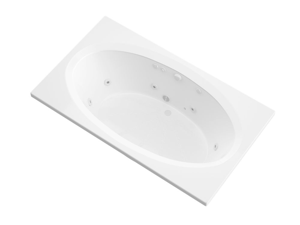 Imperial 6 ft. Acrylic Drop-in Right Drain Rectangular Whirlpool Bathtub in White