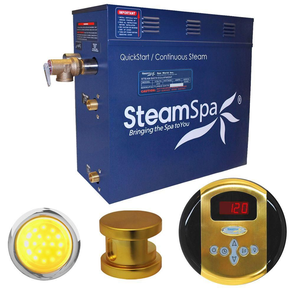 Steamspa Indulgence 6kw Steam Generator Package in Polished Brass