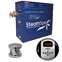 Steamspa Oasis 7.5kW Steam Bath Generator Package in Chrome