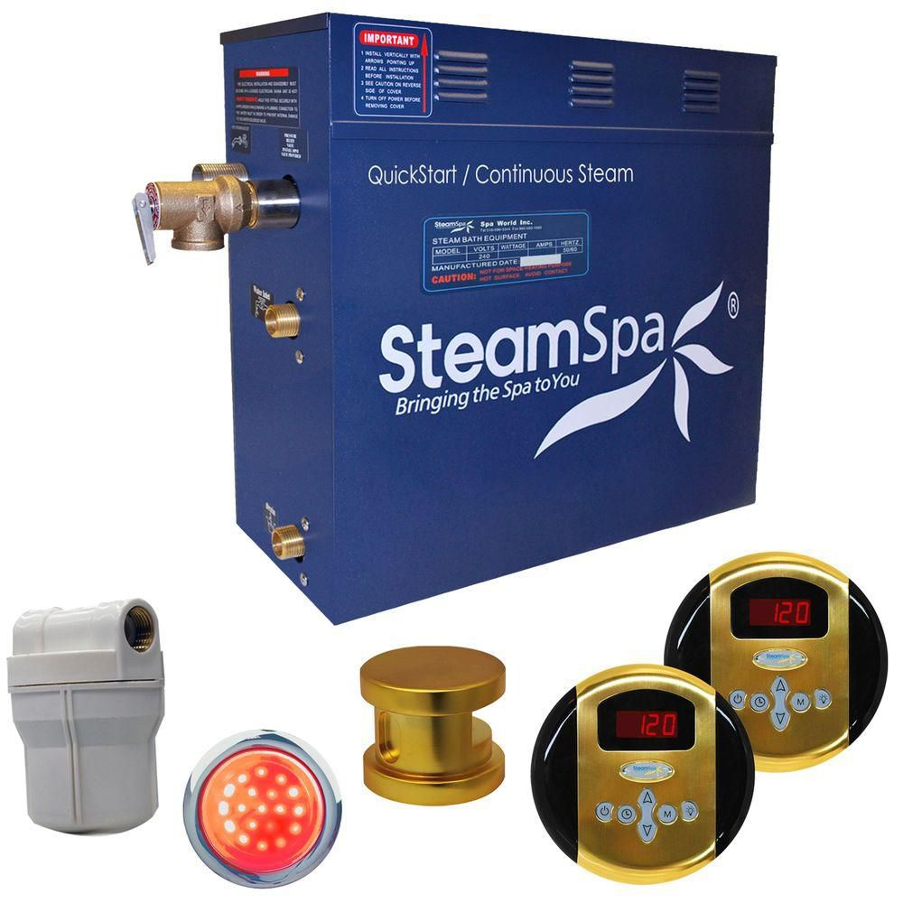 Steamspa Royal 7.5kw Steam Generator Package in Polished Brass