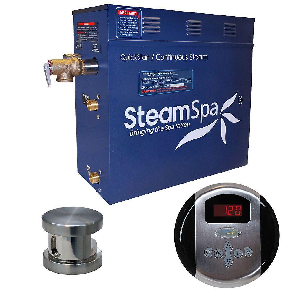 Oasis 9kW Steam Bath Generator Package in Brushed Nickel