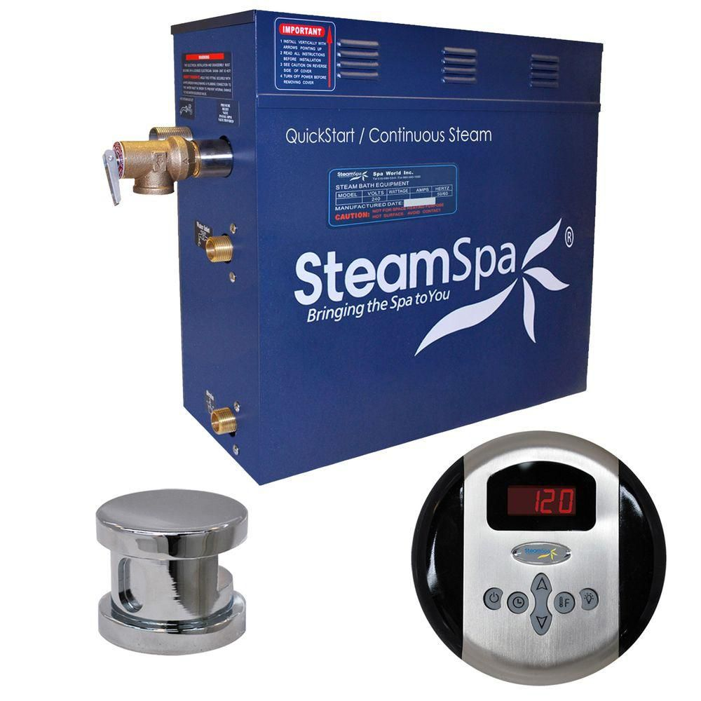 Steamspa Oasis 9kW Steam Bath Generator Package in Chrome