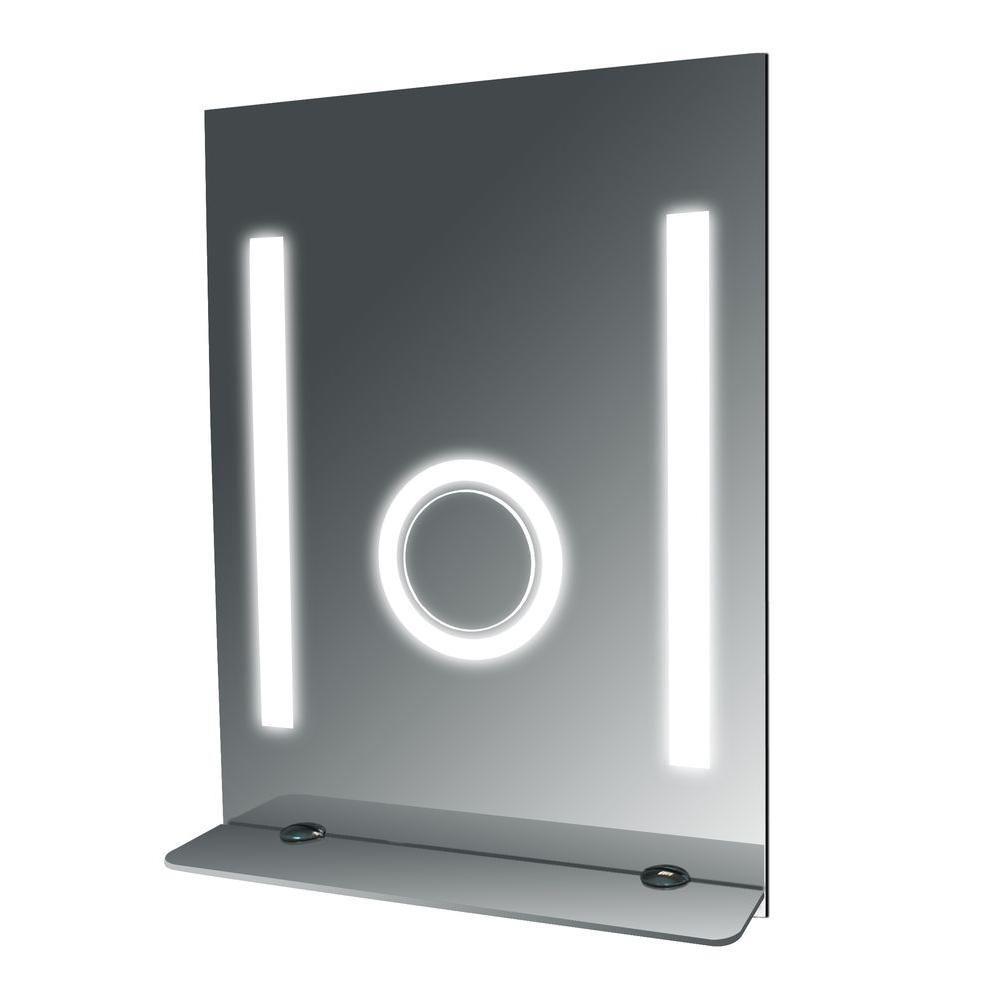Miroir de salle de bains antibuée haut avec tablette en verre