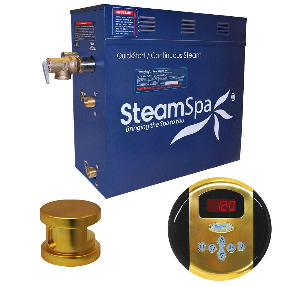 Oasis 4.5kw Steam Generator Package in Polished Brass