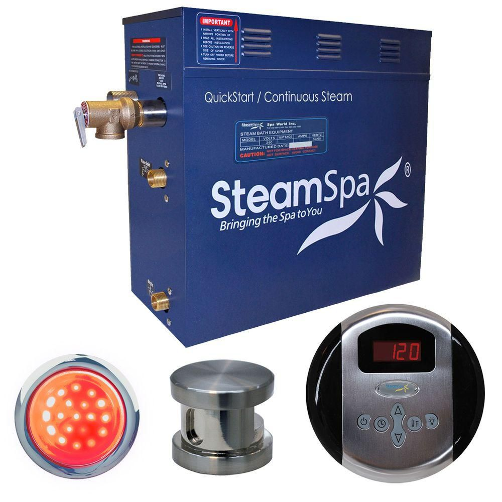 Steamspa Indulgence 4.5kw Steam Generator Package in Brushed Nickel