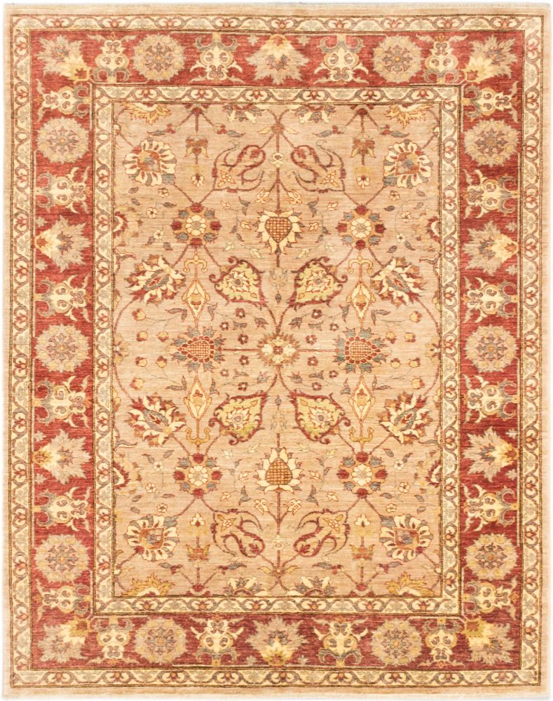 Hand-knotted Chobi Finest Beige Dark Copper Rug - 6 Ft. 7 In. x 8 Ft. 3 In. 173262 in Canada