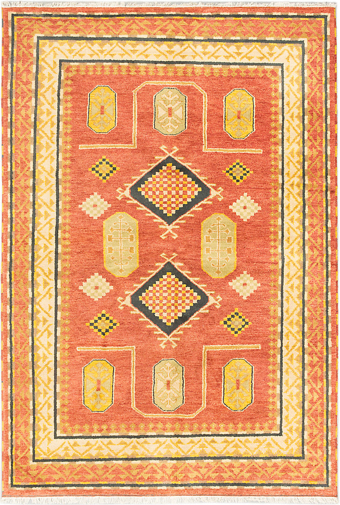 Hand-Knotted Royal Avery Orange 6 ft. 7-inch x 9 ft. 8-inch Indoor Traditional Rectangular Area Rug