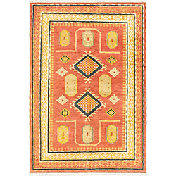 ECARPETGALLERY Hand-Knotted Royal Avery Orange 6 ft. 7-inch x 9 ft. 8-inch Indoor Traditional Rectangular Area Rug