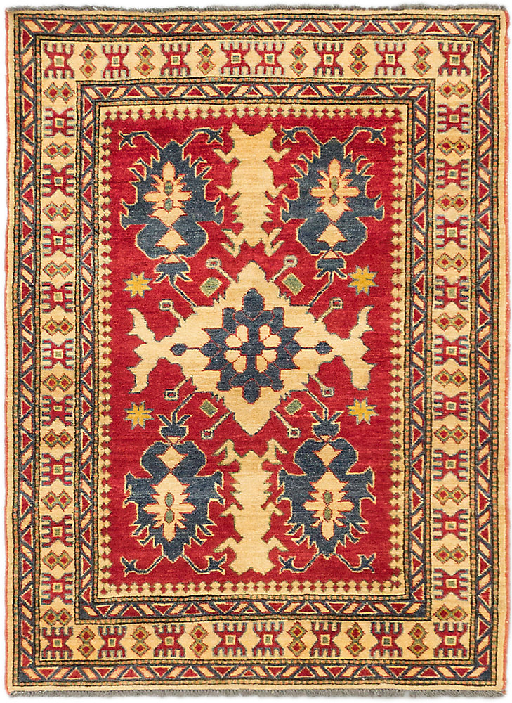 Hand-Knotted Tamar Red 3 ft. 7-inch x 4 ft. 10-inch Indoor Traditional Rectangular Area Rug