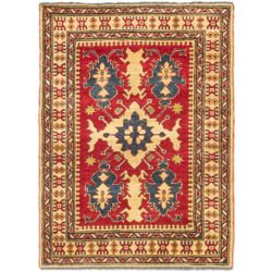 ECARPETGALLERY Hand-Knotted Tamar Red 3 ft. 7-inch x 4 ft. 10-inch Indoor Traditional Rectangular Area Rug