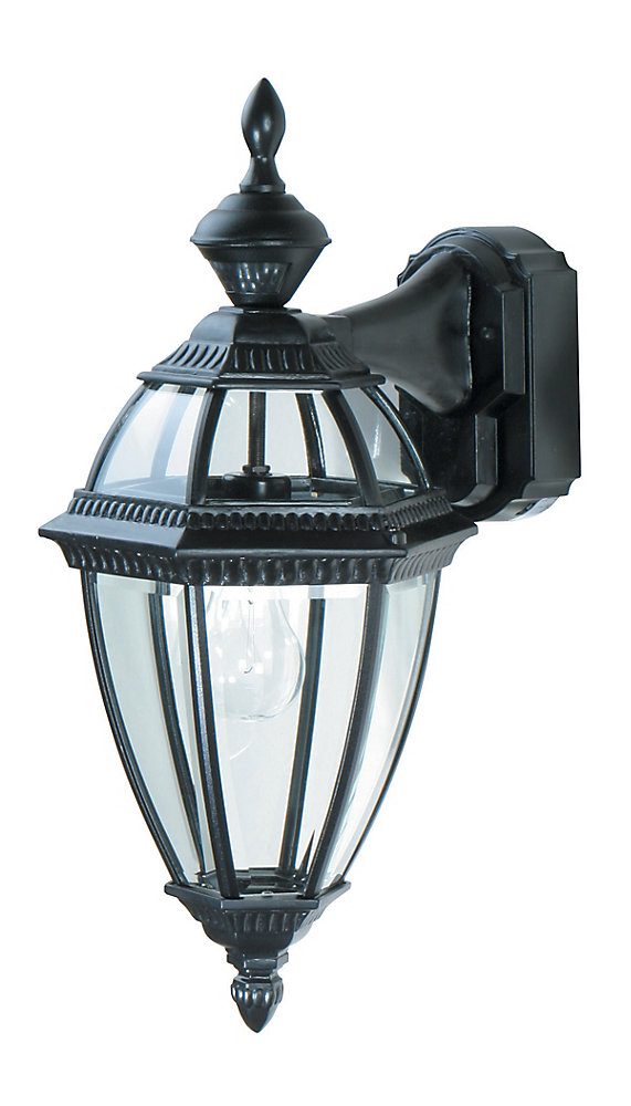150 Degree Black 6-Sided Decorative Lantern with Clear Beveled Glass