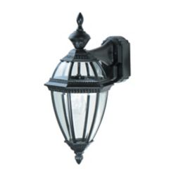 Heath Zenith 150 Degree Black 6-Sided Decorative Lantern with Clear Beveled Glass