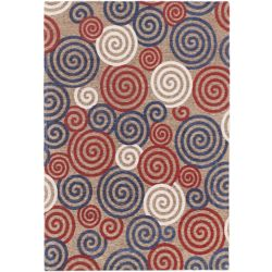 ECARPETGALLERY Portico Red 4 ft. 7-inch x 6 ft. 7-inch Rectangular Area Rug