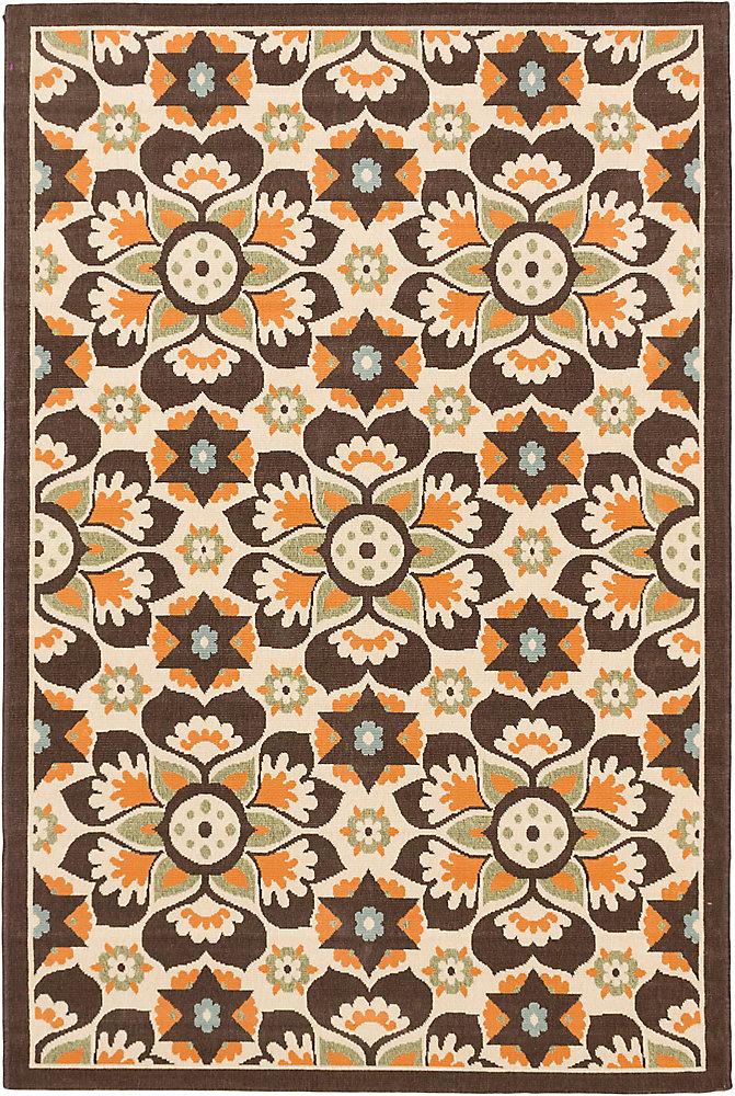 Carpette, 4 pi 11 po x 7 pi 5 po, rectangulaire, brun Tropicana