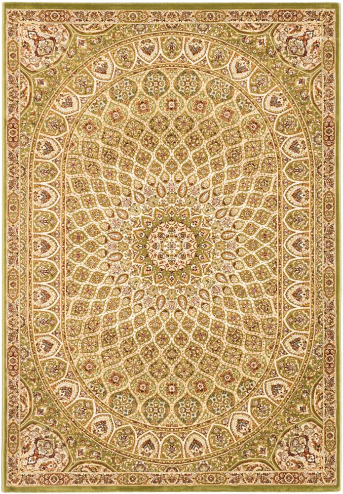 ECARPETGALLERY Persia Isfahan Green 7 ft. 10-inch x 11 ft. 2-inch Rectangular Area Rug