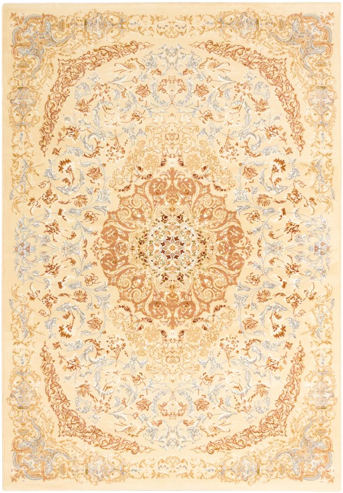 ECARPETGALLERY Persia Tabriz Off-White 5 ft. 3-inch x 7 ft. 4-inch Rectangular Area Rug