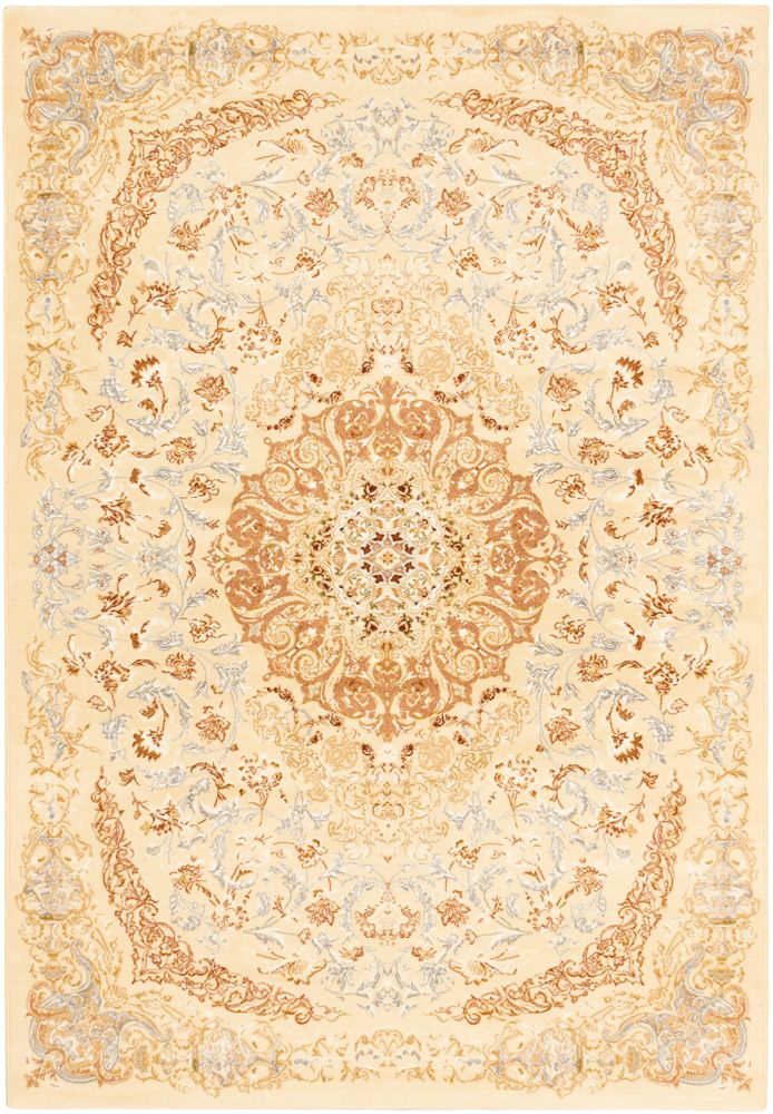 ECARPETGALLERY Persia Tabriz Off-White 3 ft. 11-inch x 5 ft. 3-inch Rectangular Area Rug