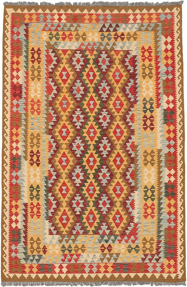 Hand Woven Sivas Kilim Brown 6 ft. 7-inch x 9 ft. 10-inch Rectangular Area Rug