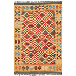 ECARPETGALLERY Hand Woven Sivas Kilim Yellow 3 ft. 4-inch x 4 ft. 10-inch Indoor Traditional Rectangular Area Rug