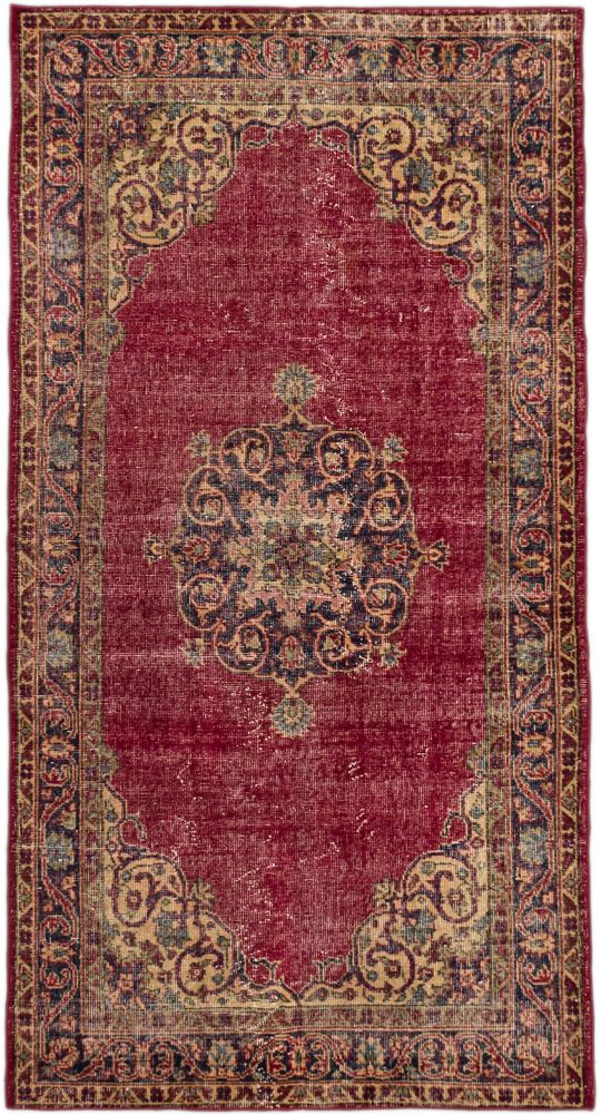 Hand-knotted Anatolian Revival Dark Red  Rug - 3 Ft. 8 In. x 6 Ft. 11 In.