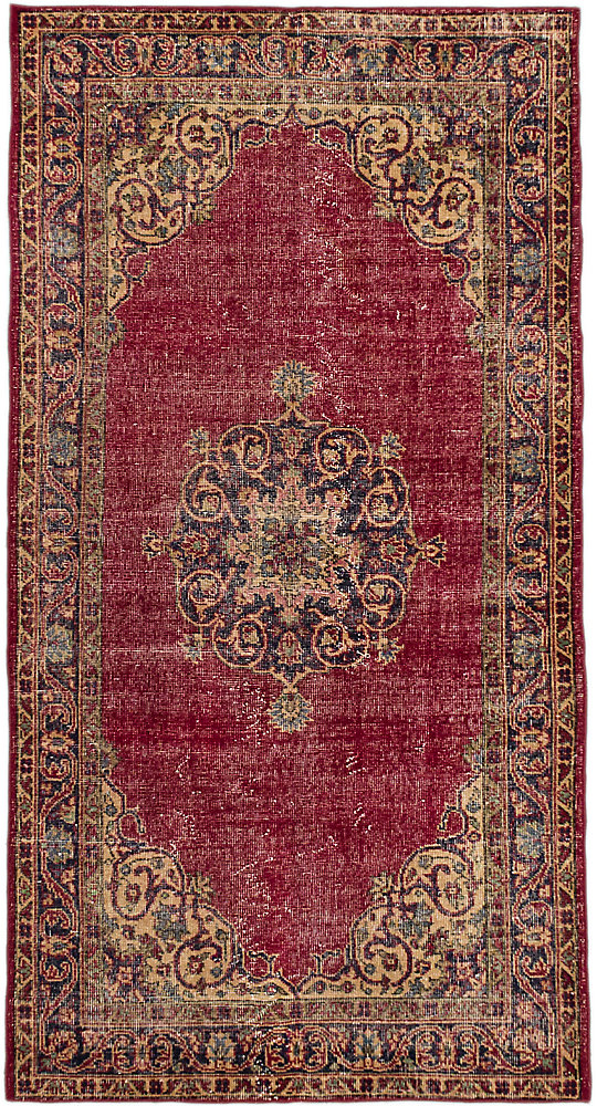 Hand-Knotted Anatolian Revival Red 3 ft. 8-inch x 6 ft. 11-inch Indoor Rectangular Area Rug