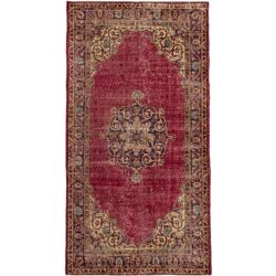 ECARPETGALLERY Hand-Knotted Anatolian Revival Red 3 ft. 8-inch x 6 ft. 11-inch Indoor Rectangular Area Rug
