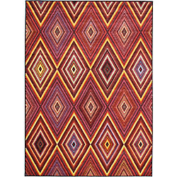 ECARPETGALLERY Carpette, 4 pi 7 po x 6 pi 3 po, rectangulaire, rouge Chroma