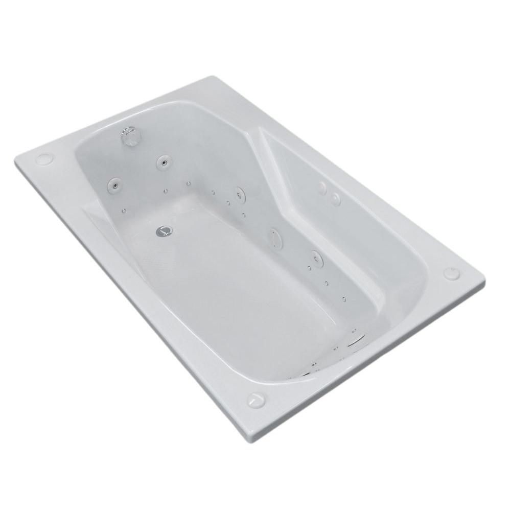 Universal Tubs Coral 5 ft. Acrylic Drop-in Left Drain Rectangular Whirlpool and Air Bathtub in White